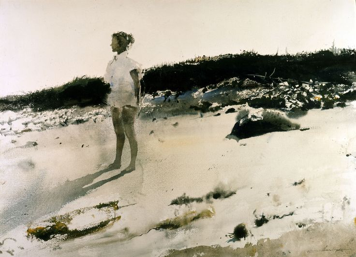 1950s watercolor paintings   Andrew-Wyeth-Carol-on-the-Beach-1950-watercolor-on-paper-20x28.jpg