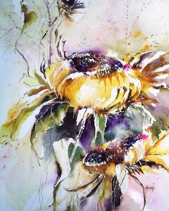 Les 25 meilleures id es de la cat gorie tournesol l for Aquarelle fleurs livraison gratuite