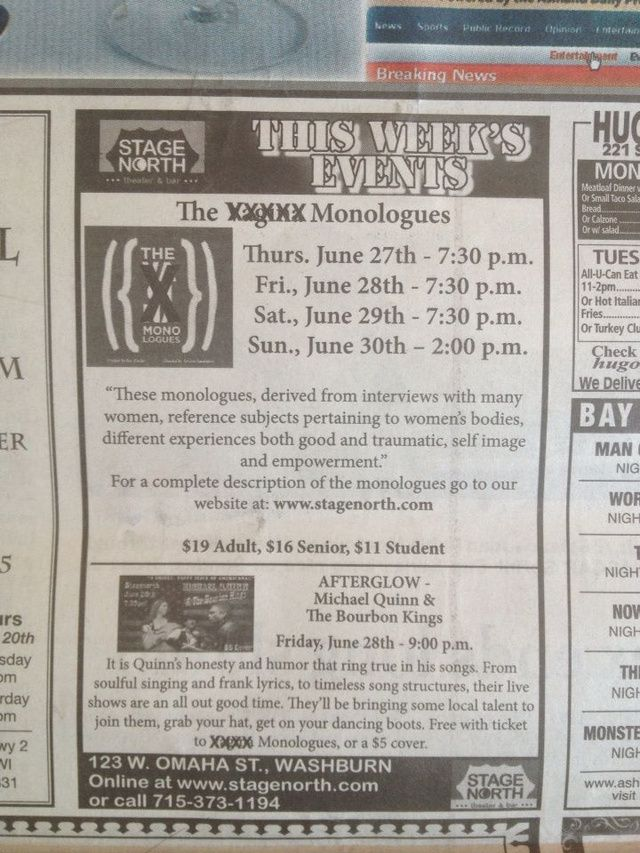 Wisconsin Newspaper Censors the Word 'Vagina' in Vagina Monologues Ad