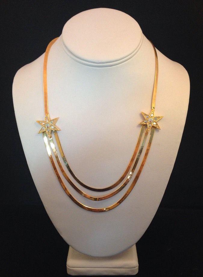 Vintage KIRKS FOLLY Necklace Gold Herringbone Chain Crystal Stars ULTRA RARE kfb #KirksFolly #Statement