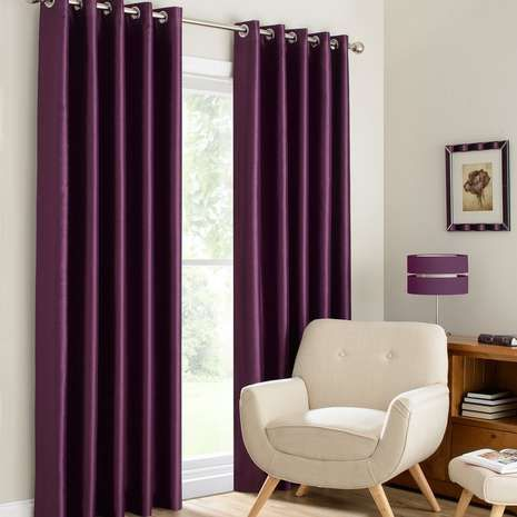 Made with an eyelet header, this pair of curtains is designed in a rich shade of plum purple and is available in a range of widths and drop lengths....