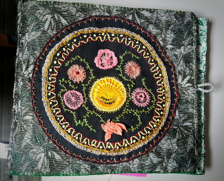 Needle book - front cover with embroidered applique
