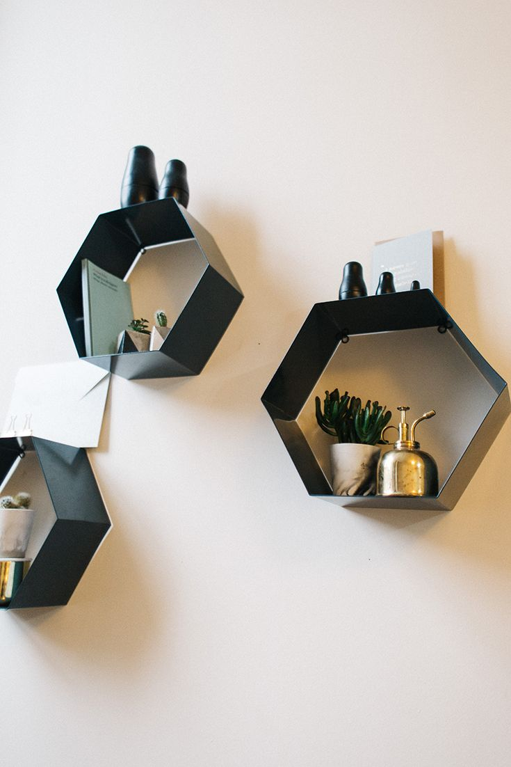 Geometric shapes add interest to a small space.