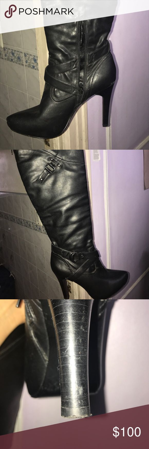 Thigh high leather boots Do Not Buy!!!!!!!   These are on hold Thigh high leather boots purchase 3 years ago.   These are my still my fav boots but can no longer wear heels due to health. Looking for a new home they were worn 3xs price negotiable lil scuff on the toe that can easily be fixed heel is in great condition and zipper is perfect.   Make me an offer I can't refuse.  Zipper on the side and along the top of the back Guess Shoes Heels