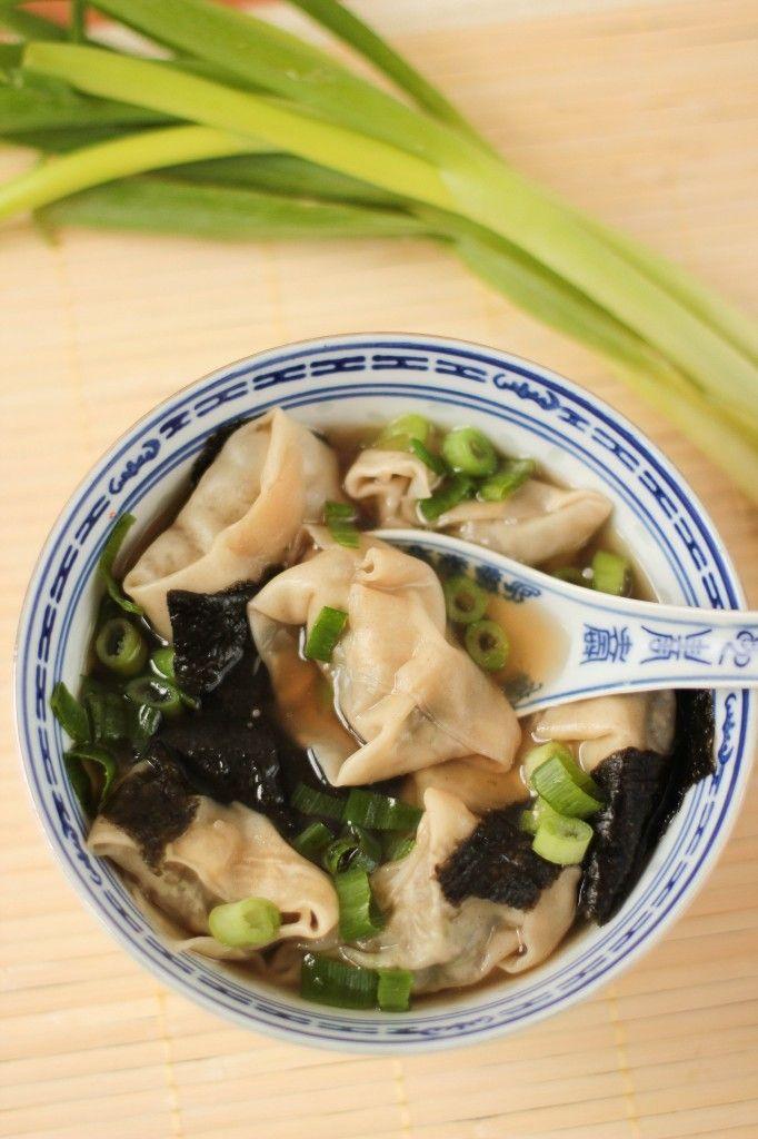 soupe de raviolis chinois végétariens - vegetarian wonton soup VEGAN