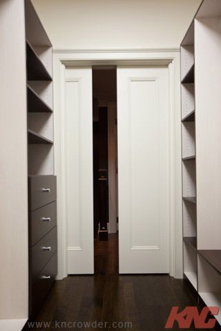 crowder pocket door track and hardware is used here for a fabulous walkin closet