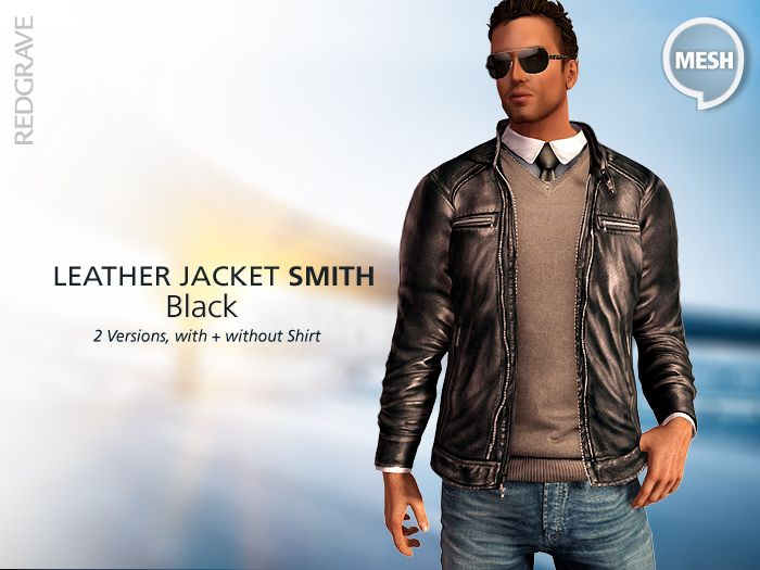 Mesh - Black Leather Jacket SMITH - REDGRAVE