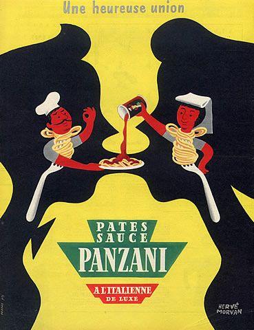 Panzani (Food) 1953 Herve Morvan Vintage advert Food illustrated by Hervé Morvan   Hprints.com