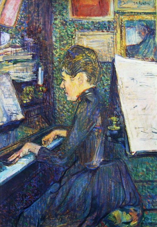 Henri de Toulouse-Lautrec, La signorina Dihau al pianoforte, cm.69 x 49, Musée Toulouse-Lautrec, Albi