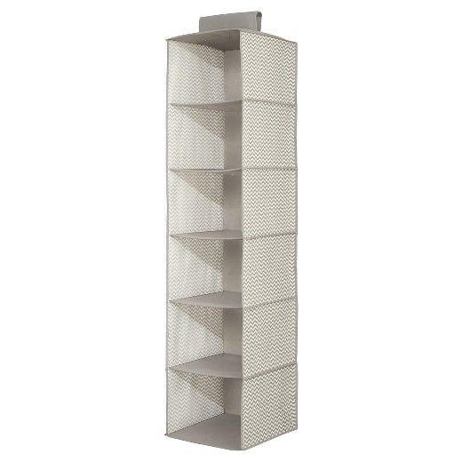 $12.99    InterDesign Chevron Fabric Baby Closet 6-Shelf Hanging Organizer - Gray/Cream, Large : Target