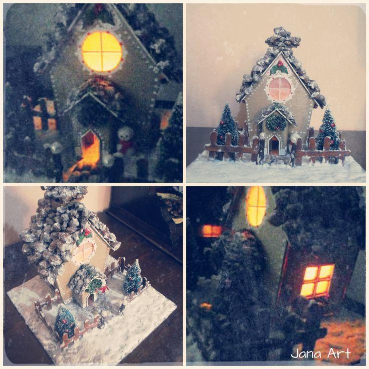 Christmas candleholder handmade from cardboard #gingerbreadhouse #cardboard #snow #fakesnow #Christmasideas #Natale #Christmas #handmade
