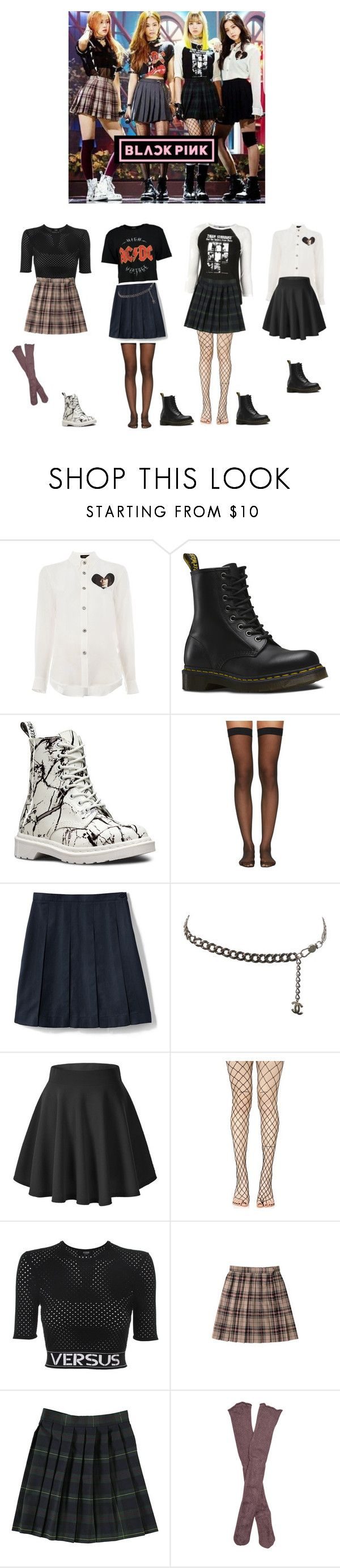"""""""Blackpink - boombayah"""" by mochichimchim ❤ liked on Polyvore featuring Undercover, Dr. Martens, Wolford, Lands' End, Chanel, Leg Avenue, Versus, French Toast and Free People"""
