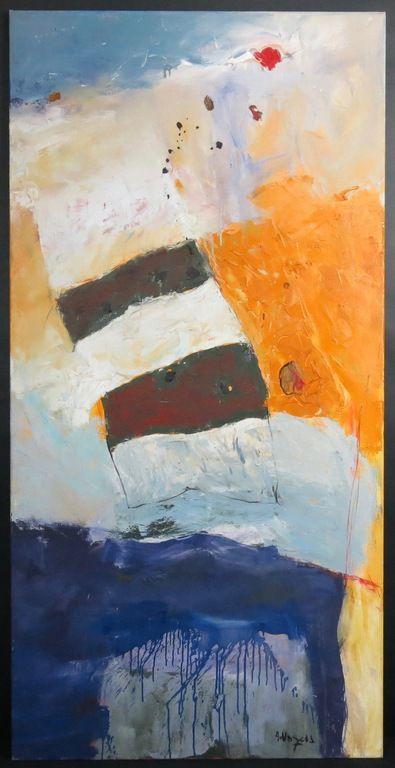 Alexander Vogels: Olieverf op doek, White stripes - Ingelijst (Groot)