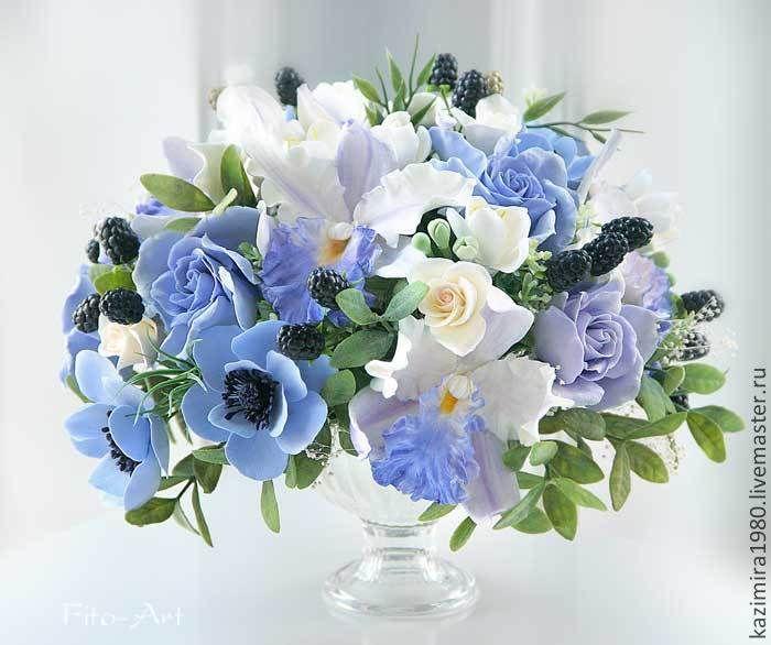 Купить Букет для Матушки Зимы - васильковый, синий, сиреневый, орхидеи, синие цветы, анемоны