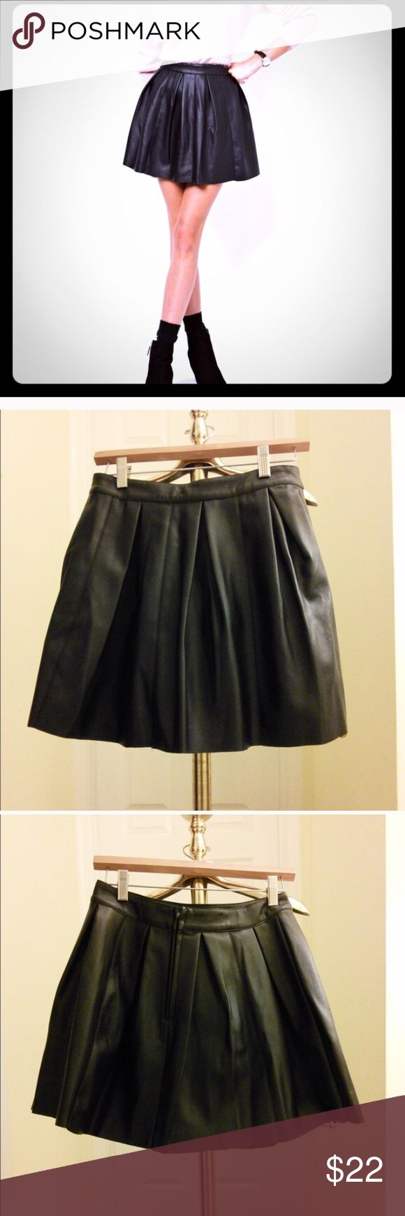 ASOS vegan leather skater skirt Re-poshing because it didn't fit me. Size 6. Was never worn but no tags. Super cute for the fall ASOS Skirts Circle & Skater