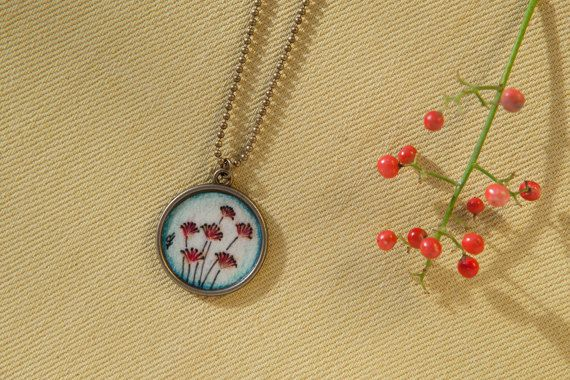 Botanical jewelry necklace Flower pendant necklace Gift for