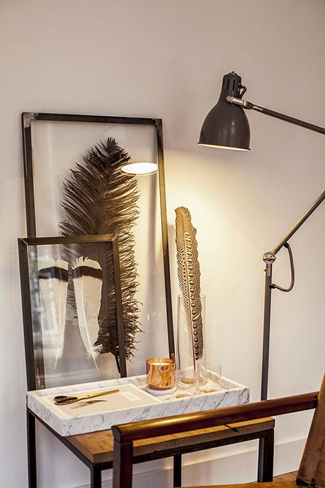 Feather inside a Transparent frame. Tutorial can be seen : http://www.interiorjunkie.com/2014/05/02/diy-ingelijste-veren/