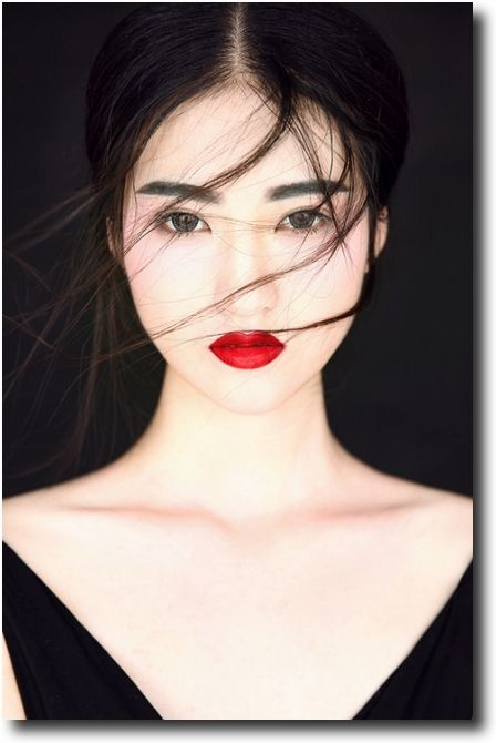 bare make up, red lipstick!