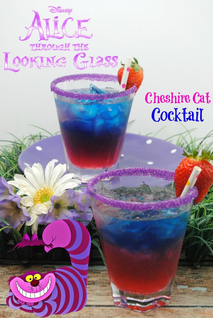 Cheshire Cat Cocktail: Cherry Vodka, Blue Curaçao, Strawberry Vodka, Grenadine, Sprite