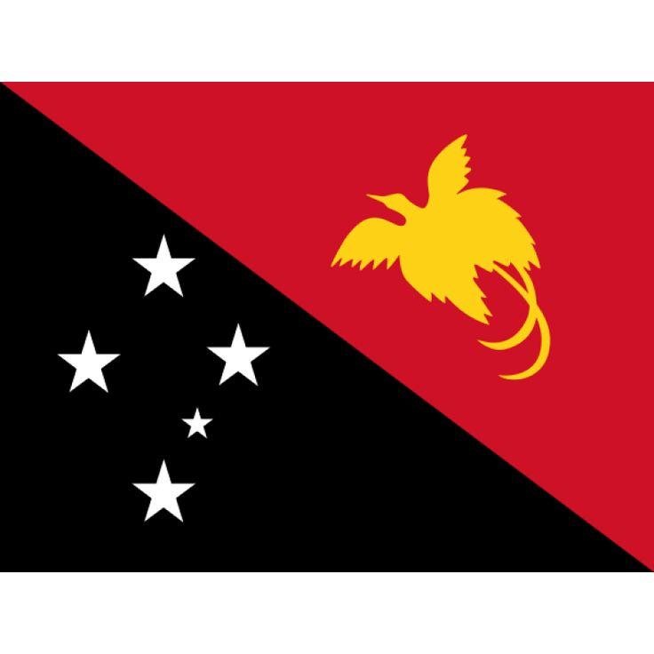 vlag Papoea-Nieuw-Guinea | Papoea-Nieuw-Guineaanse vlaggen 100x150cm De vlag bestaat uit twee driehoeken: een zwarte met de punt naar de linkeronderhoek en een rode met de punt naar de rechterbovenhoek. In de zwarte driehoek staat het sterrenbeeld Zuiderkruis afgebeeld, zoals in de vlaggen van Australië, Brazilië, Nieuw-Zeeland en Samoa. In de rode driehoek staat een oranjegeel silhouet van de Raggi's paradijsvogel.