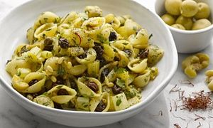 Saffron pasta with capers