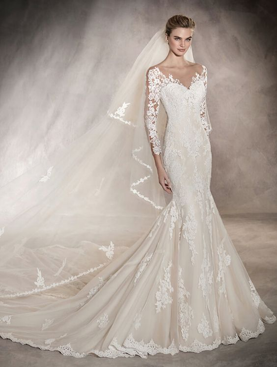 Sophisticated lace quarter length sleeve wedding dress with gorgeous trumpet skirt and bridal train; Featured Dress: Pronovias