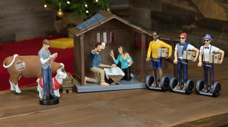 There's a Hipster Nativity Set! Look closely... Joseph is taking a selfie Mary is drinking a Starbucks and the Three Wise Men are delivering Amazon packages on Segways! http://ift.tt/2zUUHwR  #hipsters #nativityscene #hipsternativityscene #jesusjosephandmary #starbucks #starbuckscoffee #christmas #christmassweaters #glutenfree #selfies #amazon #segways #duckface #hilarious #solarpanels #manbuns