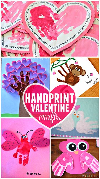 Valentines Day handprint crafts for kids.