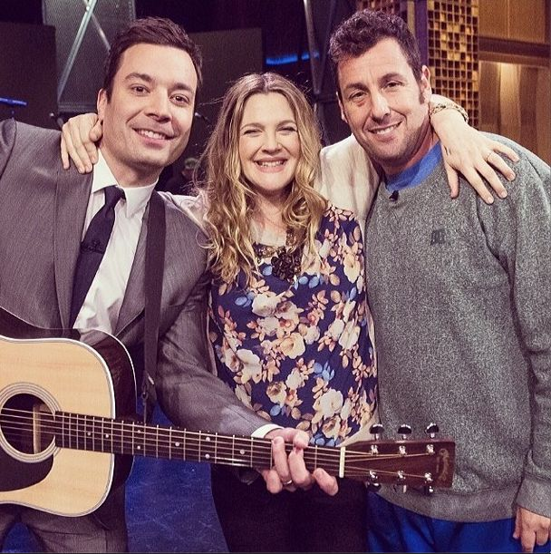 "Jimmy Fallon, Drew Barrymore and Adam Sandler after the ""Every 10 Years"" song"