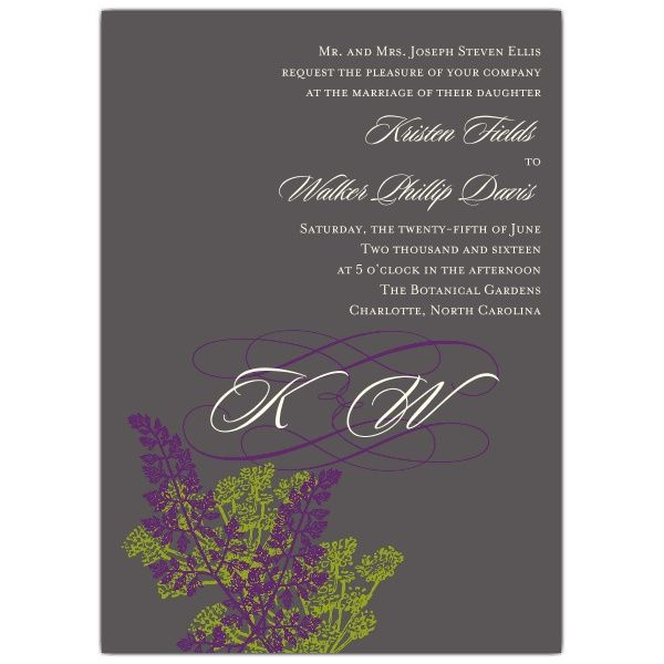 Monogram Botanicals Wedding Invitations | PaperStyle / 100 invites, 100 reply cards + printed envelopes = $303