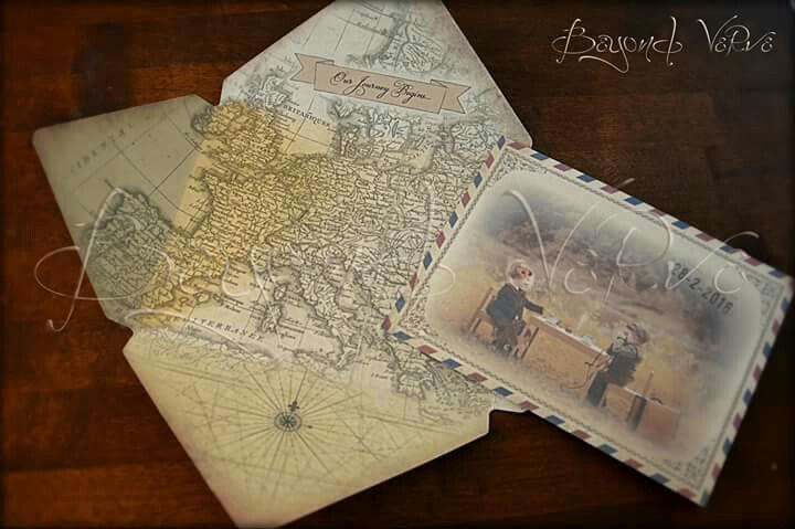 Postcard wedding invitation with old maps, couple photo and sealing wax stamp - Travel themed wedding - Vintage wedding stationery - Beyond Verve