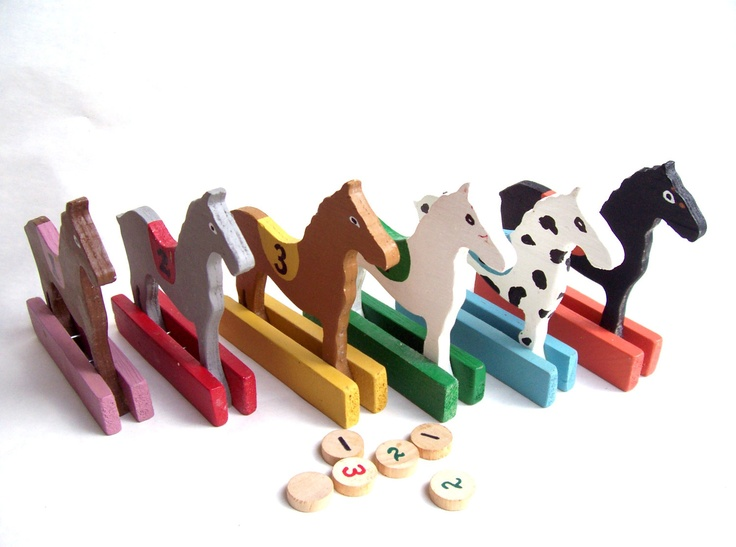 Vintage Horse Race Game Solid Wood Numbers 1 thru 6 Horses Great for The Kentucky Derby Day Decoration. $12.00, via Etsy.