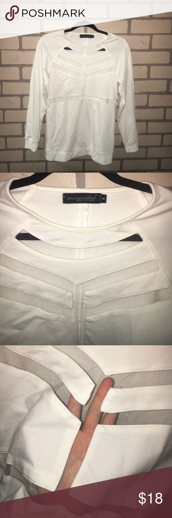 White Missguided top with mesh cut outs All white with see through mesh cut outs! Made of 100% polyester. In great condition!! Willing to accept offers!❤ Missguided Tops Tees - Long Sleeve