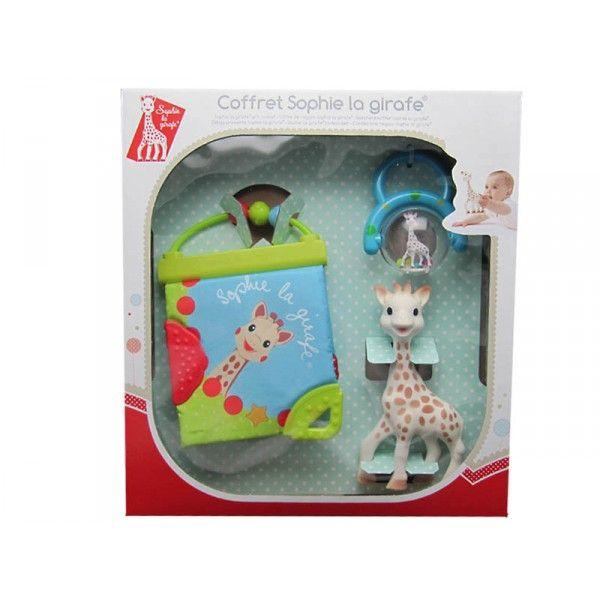 Coffret cadeau naissance composé de: Sophie la girafe, 1 livre d'éveil en tissu, 1 boulier bleu. Sophie la girafe est composée de caoutchouc naturel (comme la tétine du biberon) et de peinture alimentaire, bébé peut la mordiller sans danger. Dimension de Sophie la girafe : hauteur 18 cm. Coffret avec un hochet boulier bleu.