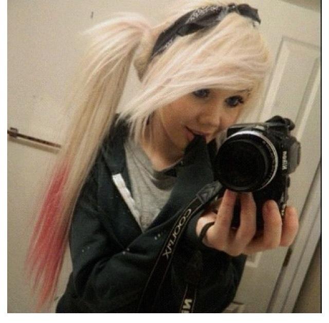 Long Blonde Hair Pink Tips Ponytail Bandana Blonde