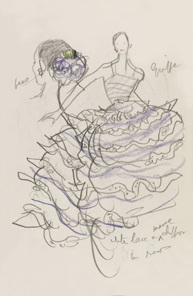 Sketch of a model in haute couture fashions on a catwalk, with pencil annotations, from a Sketchbook, by Francis Marshall (1901-80). Pencil drawing. Paris, France, 1951.