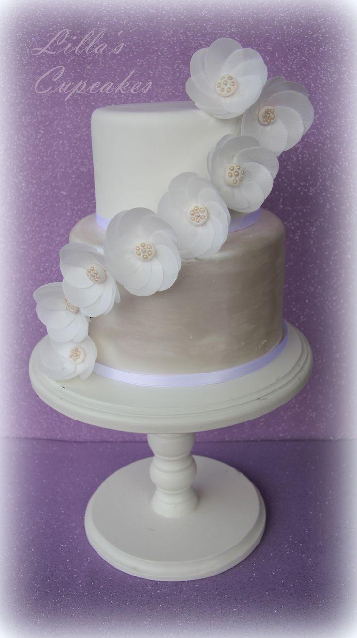 Christening Cake Wafer Paper Flowers An Pearls Cake Pinterest