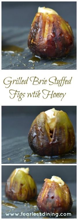Grilled Brie Stuffed Figs with Honey- Sweet figs with warm gooey brie drizzled with honey
