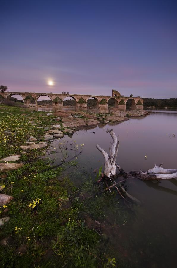 Ayuda Bridge under the moonlight, vertical composition.    Puente Ayuda bajo la luz de la luna, encuadre vertical.