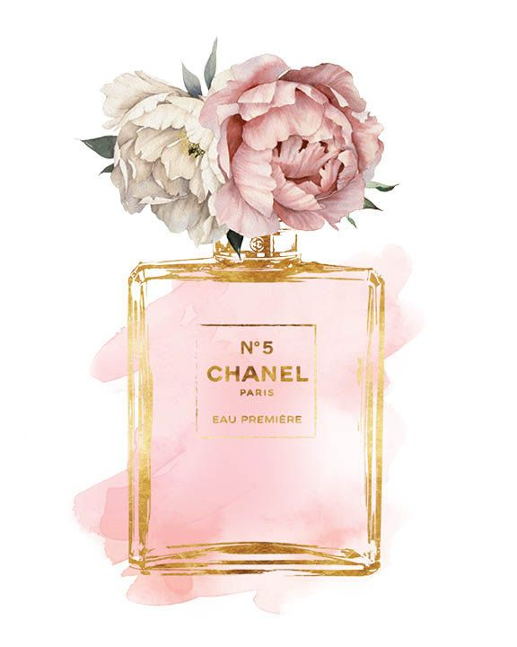 Chanel No5 art 8x10 Pink Peony watercolor by hellomrmoon on Etsy More