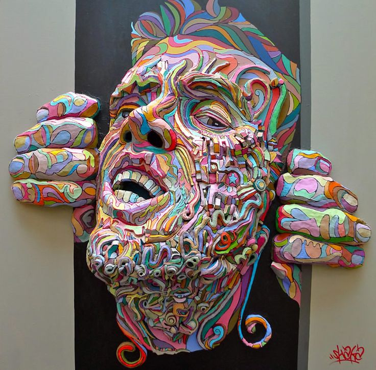 Artist Shaka (Marchal Mithouard) has explored a wide range of art techniques such as painting, sculpting, graffiti, photography, tattooing, and more. His work is refreshing to see because of the way he combines two-dimensional imagery with three-dimensional forms.