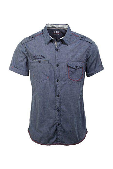 edc by ESPRIT Kurzarm Slim Fit - Camisa de manga corta para hombre, color azul (indigo blue) 498, talla xl