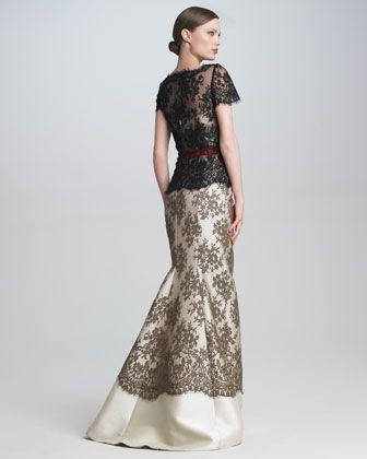 Carolina Herrera Colorblock Lace Gown