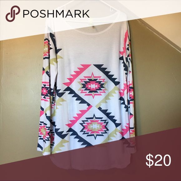 Aztec Women's Tee 3X Aztec woman's cotton t-shirt - white, hot pink, navy - size 3X.  NWOT Tops Tees - Long Sleeve