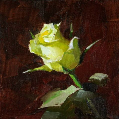 A Yellow Rose of Texas --- Sold, painting by artist Qiang Huang