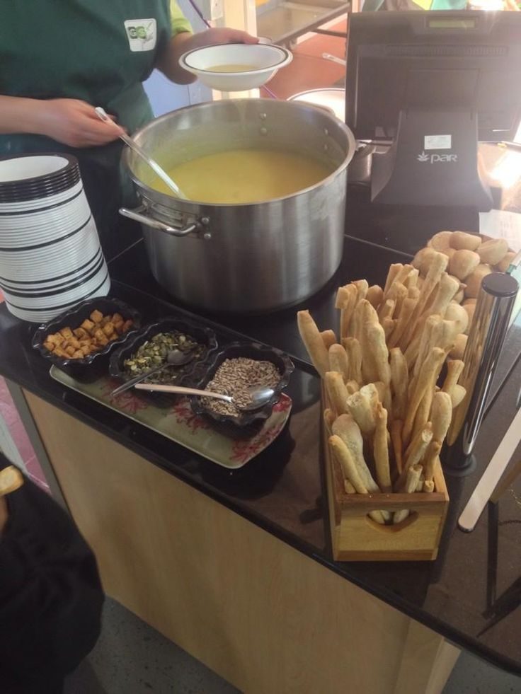 The brand new soup station at Charlton Manor. On the menu today: leek and potato soup with pumpkin seeds.