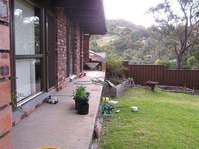 Rear veranda before decking started.
