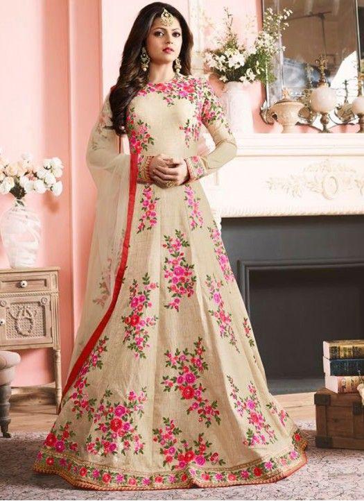New Designer Drashti Dhami Cream Heavy Embroidered Anarkali Suit