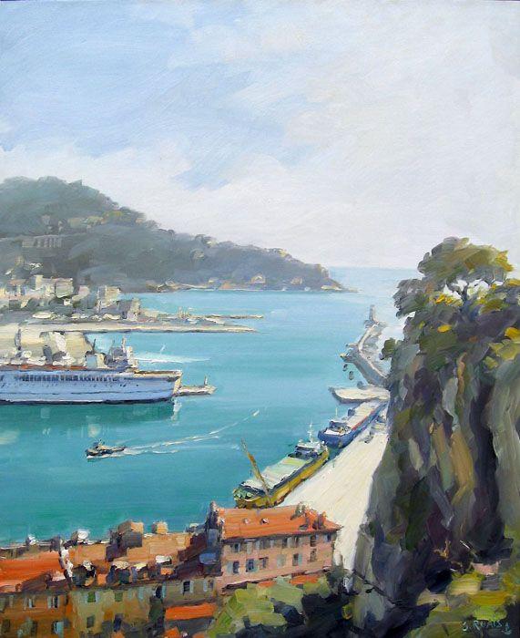 le port de nice vu de la falaise 73x60cm-Stéphane Ruais