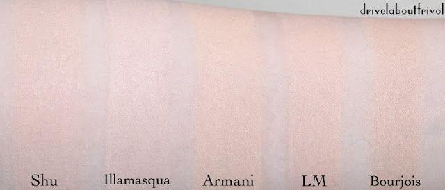 foundation swatches Armani Maestro Fusion 2 Shu Uemura Nobara stick 784, Illamasqua Skin Base 2, Laura Mercier Silk Creme Soft Ivory, Bourjois Healthy Mix 51